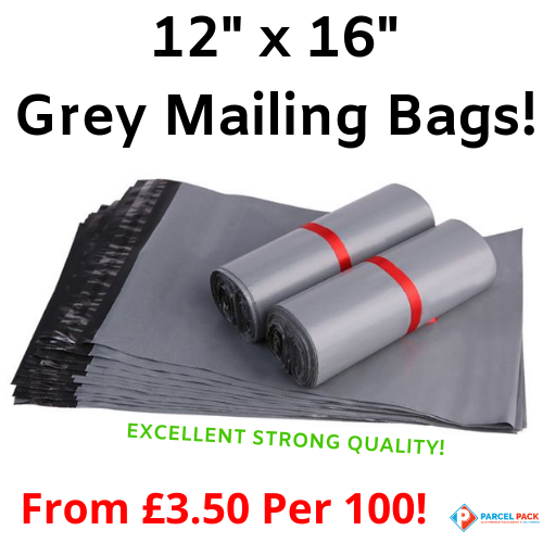 Small Parcel Grey Polythene Mailing Bags 12 x 16 inches//305 x 406 mm